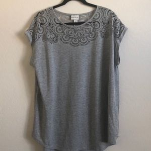 Ava & Viv gray shirt with lace cut out